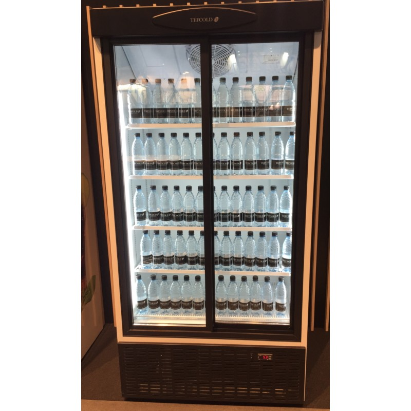 Frigo vitrine double portes coulissantes top 880 l for Peut on coucher un frigo froid ventile
