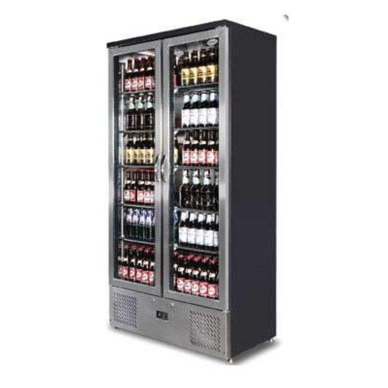Petit frigo vitrine doubles portes battantes 500 litres for Decoration porte frigo